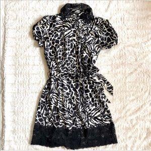 Bisou Bisou Animal Print Lace Trim Button Dress